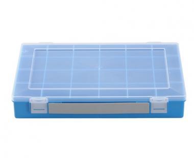 Sortimentskasten mit Tragegriff, 24 Fächer, blau