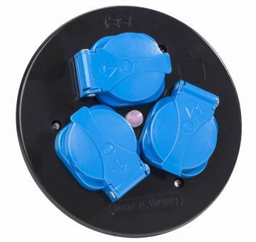 as Schwabe Steckdoseneinsatz mit Klappdeckel, 3-fach, blau, IP44