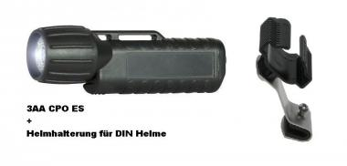 Helm-und Arbeitslampe UK 3AA eLED CPO ES + Helmhalter