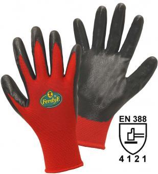 FerdyF. 11561 Feinstrickhandschuh Dynamic Polyester mit Nitrilbeschichtung, Damen- und Herrengröße Herrengröße   12