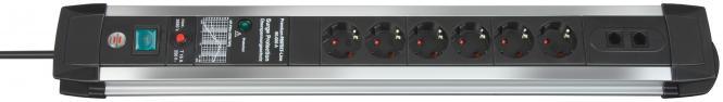 Premium-Protect-Line 60.000A Überspannungsschutz-Steckdosenleiste 6-fach 3m H05VV-F 3G1,5 RJ45 (ISDN/DSL)