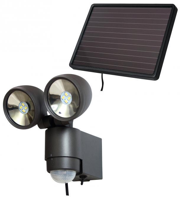 Solar LED-Spot SOL 2x4 IP 44 mit Infrarot-Bewegungsmelder schwarz