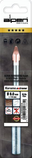Alpen Keramo Extreme Feinsteinzeugfliesenbohrer 8 mm