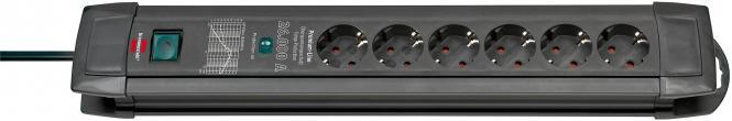 Brennenstuhl Premium-Line 26.000 A Überspannungsschutz-Steckdosenleiste, 6-fach, schwarz