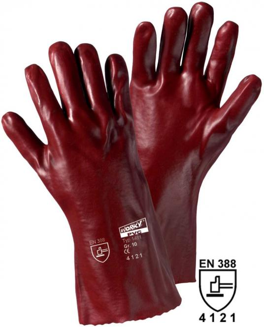 1481 PVC-Handschuh, 35cm, rotbraun (12 Paar)