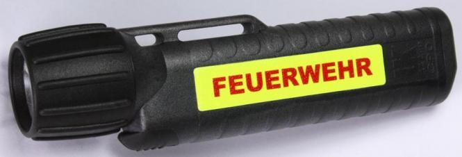 """Helm - und Arbeitslampe UK 4AA eLED CPO ES Leuchtstreifen und Aufdruck """"Feuerwehr"""""""
