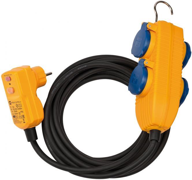 Brennenstuhl Schutzadapterleitung FI IP54 mit Powerblock 10m H07RN-F3G1,5