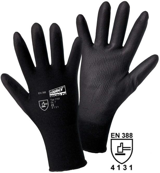 MICRO black Nylon-PU Feinstrickhandschuh (12 Paar) Gr. 9