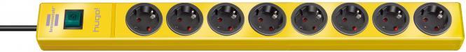 hugo! Steckdosenleiste 8-fach, gelb, 2m Kabel
