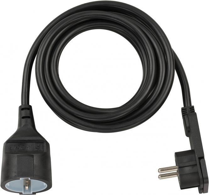 Brennenstuhl Kurzverlängerungsleitung mit Winkel-Flachstecker 3m H05VV-F3G1,5 schwarz