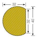 MORION-Prallschutz, Kreis, Flächenschutz 32/40 mm, gelb / schwarz, selbstklebend, Länge: 1000 mm