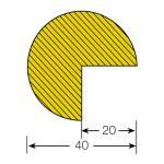 MORION-Prallschutz, Kreis, Kantenschutz 40/40 mm, gelb / schwarz, selbstklebend, Länge: 1000 mm