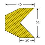 MORION-Prallschutz, Trapezform, Kantenschutz 40/40 mm, schwarz / gelb, magnetisch, Länge: 1000 mm