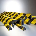 MORION-Prallschutz, Trapezform, Kantenschutz 40/40 mm, schwarz / gelb, selbstklebend, Länge: 1000 mm