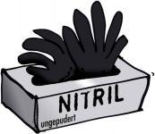 """14680 Nitril-Einmalhandschuh """"Schwarze Witwe"""" Gr. S - XL, 100 Stk. ungepudert, nahtlos, unsteril, lebensmittelgeeignet"""